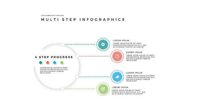 4 Step Circular Progress Infographics for PowerPoint Templates in White Background
