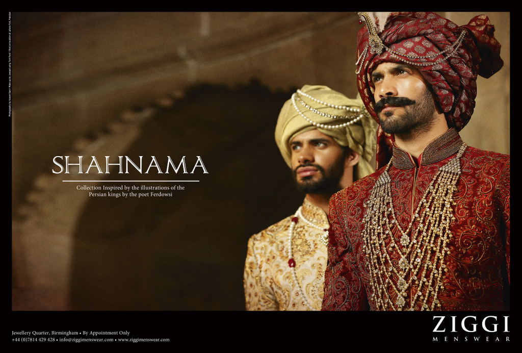 shahnamah menswear campaign by ziggi menswear featuring desi mens attire with sherwanis and regal looking clothes and turbans and lots of mughal elements in mens fashion and desi style