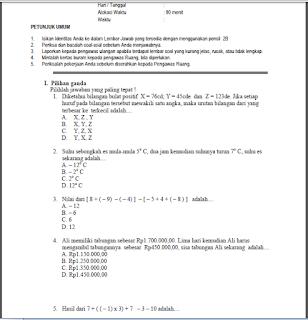 Soal UTS Matematika Kelas 7