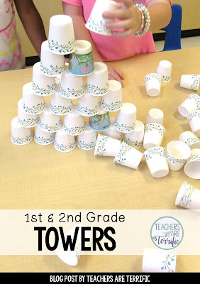 STEM Challenge for first graders! First, we read a fabulous picture book about skyscrapers and then we tried building a tower! All you need is a package of cups!