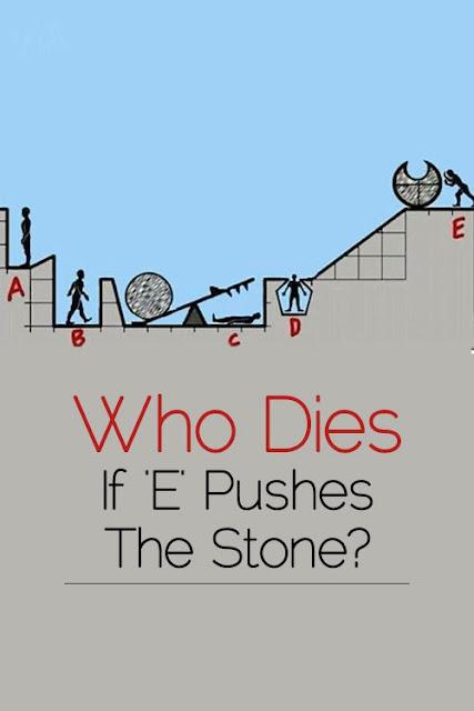 Το άτομο Ε ετοιμάζεται να σπρώξει μια πέτρα. Ποιος θα σκοτωθεί;