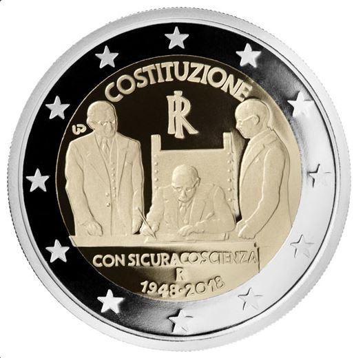 3ac4d4dfd1 Per celebrare il 70° Anniversario dell'entrata in vigore della Costituzione,  l'Italia ha emesso a Gennaio una moneta da 2 euro commemorativa.