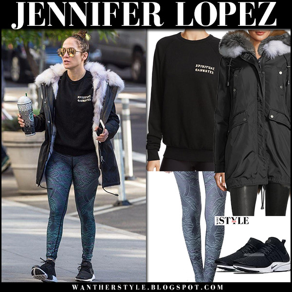 Jennifer Lopez in black fur trim parka nicole benisti belleville and green printed leggings niyama sol winter celebrity style october 19 2017