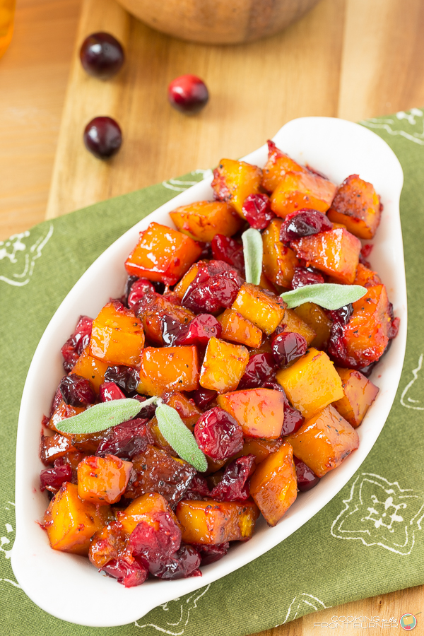 Roasted Butternut Squash with Cranberries | Cooking on the Front Burner