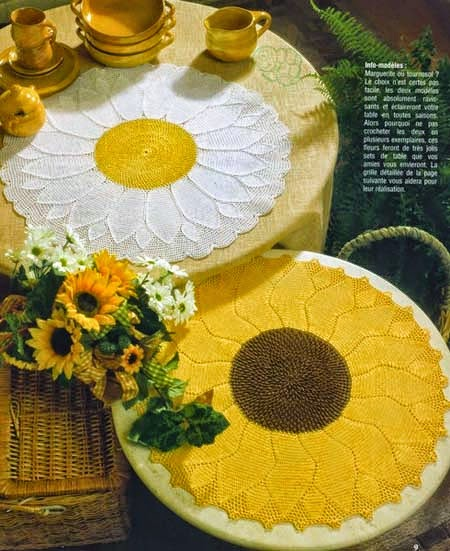 Patrón de Bellísima carpeta con diseño de girasol tejida al crochet