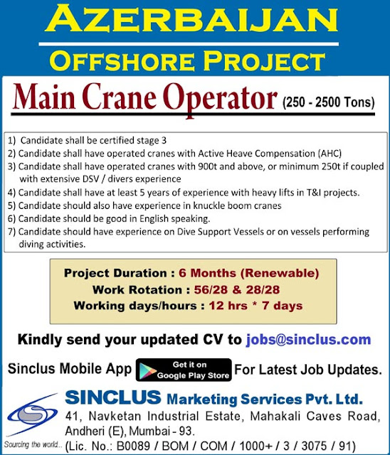 Azerbaijan Jobs, Offshore Jobs, Marine Crane Operator, Sinclus Jobs,