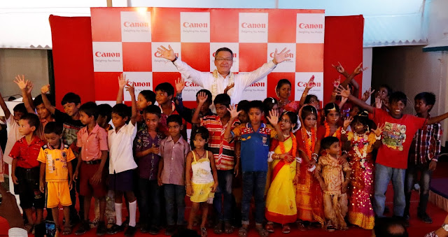 Canon India, President & CEO, Mr. Kazutada Kobayashi nurturing talent amongst children and leading way to their holistic development, at
