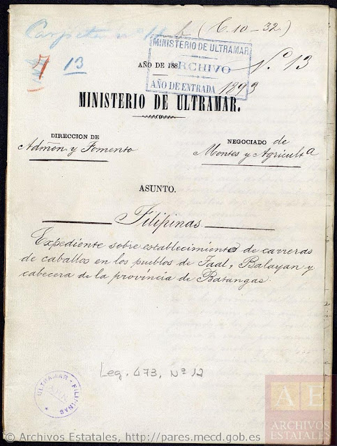 First page of the document establishing horse races in Taal, Balayan and Batangas.