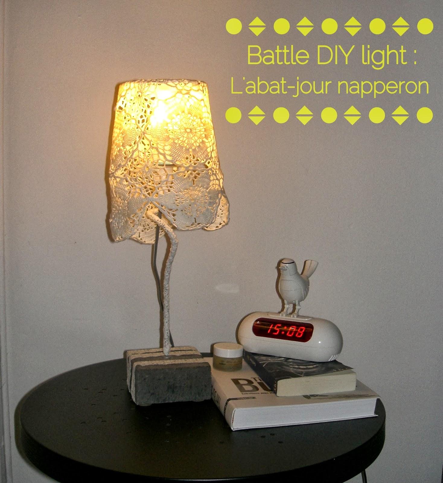 gabulle in wonderland battle diy light l 39 abat jour napperon. Black Bedroom Furniture Sets. Home Design Ideas