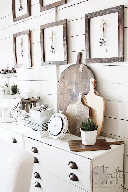 Buffet table decor and decorating ideas. Farmhouse style buffet decor. Dining room buffet decor. Dining room buffet table decorating ideas. Farmhouse vintage cutting boards or bread boards. Three tiered tray decor.