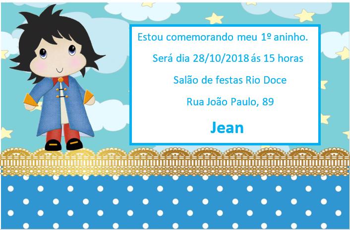 Jaques Cerimonial Como Fazer Convite De 1º Aninho Pequeno Príncipe