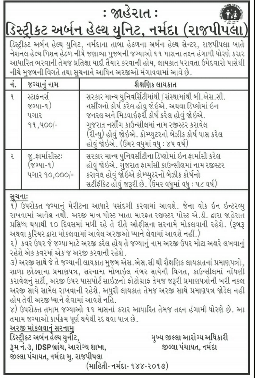 District Urban Health Unit, Rajpipla Recruitment for Staff