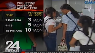"The bill proposing 10 year validity of passport has already been approved in the Senate and now awaiting approval or signature from the President. However, according to DFA, once implemented, the cost of the passport will also increase. Currently, applicants in the Philippines have to pay P 950 for passports with 5 year validity. This will then be increased to P 1,900 to P 2,000 for 10 year validity passport. The reason for the increase in passport fee, materials will be changed and has to be durable enough to last for 10 years. The pages will also be increased. ""Definitely, the materials will change. The materials are, of course, a bit more expensive because we want the booklet to be durable enough to last 10 years,"" said Ricarte Abejuela, DFA Office of Consular Affairs Passport Director. ""We're also going to increase the number of pages so definitely there are corresponding increases in cost as well,"" he added. Those who are 18 years old and below cannot also avail the passport with 10 year validity. Children 0-3 years old will have 3 year validity passport Children ages 4- 18 years old will have 5 year validity passport Only adults aging 18 year above are the only ones that can have 10 year validity passport. 10 years passport validity, E-Passport, Getting Philippine Passport"
