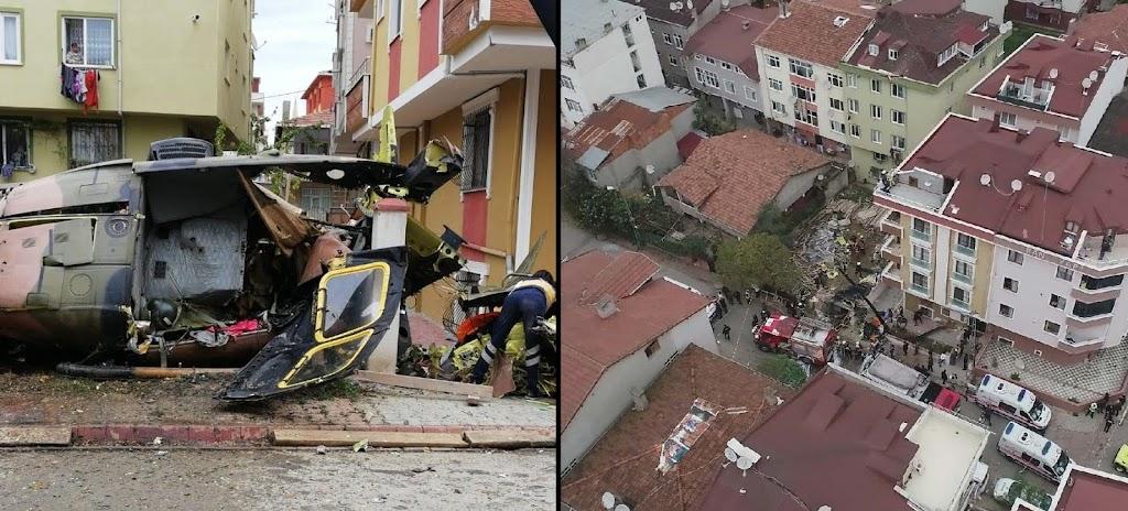 Sarıgazi de askeri helikopter düştü. 4 ölü, 1 ağır yaralı