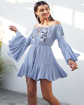 vestido corto azul claro casual tumblr para navidad