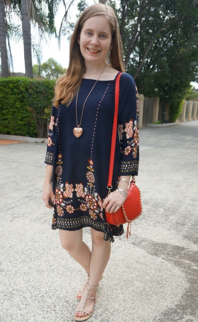 Shein navy flower print flowy dress with Rebecca Minkoff accessories red saddle bag | away from blue