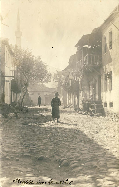 Street in the Jewish neighborhood in Bitola. On the left side Isak Mosque is seen. Today on this location is the Health Center.