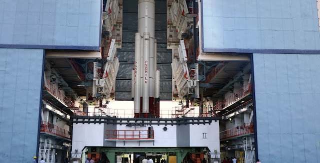 PSLV-C34 first stage integration in progress. Credit: ISRO