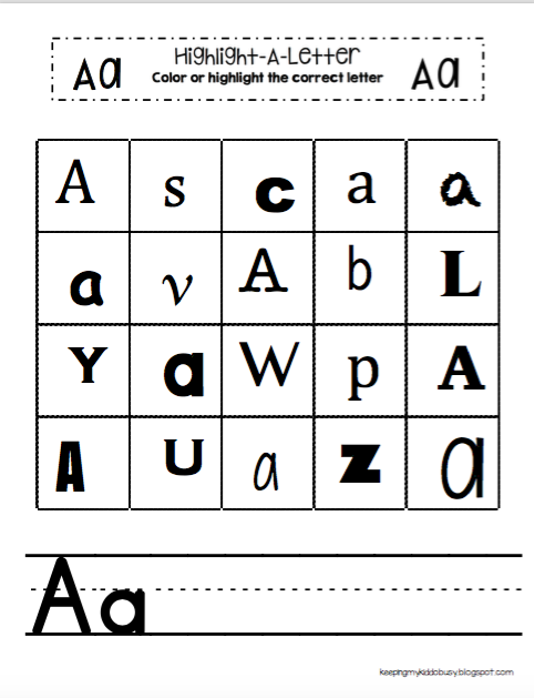 Keeping My Kiddo Busy : FREE Highlight-A-Letter Worksheets + ...