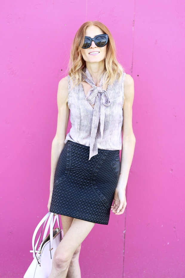 Pastels & Pastries - Playful in Pink for fall style , RW & CO sleeveless blouse, faux leather mini skirt, GEOX Lover Loafer in burgundy Kate Spade bag