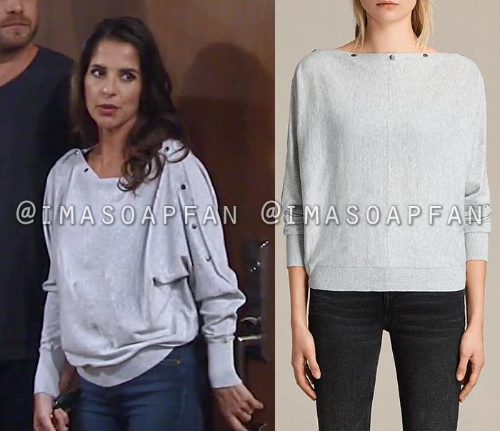 Sam Morgan, Kelly Monaco, Grey Sweater with Snap Button Neckline, General Hospital, GH