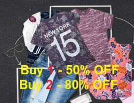 Men's Clothing @ Jabong: Buy 1 Get 50% Off | Buy 2 Get 80% Off