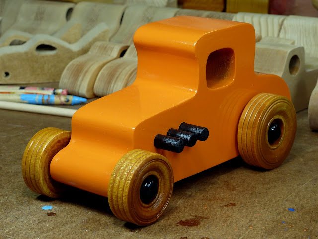 Wooden Toy Car - Hot Rod Freaky Ford - 27 T Coupe - MDF - Orange - Amber Shellac - Black