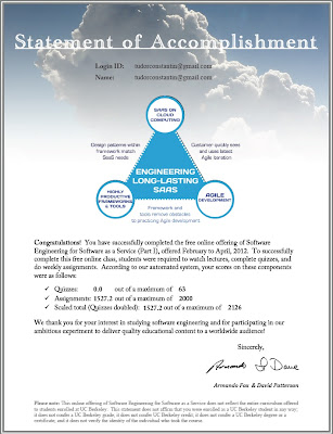 Statement of Accomplishment for the free online Software Engineering for Software as a Service course from University of Pennsylvania