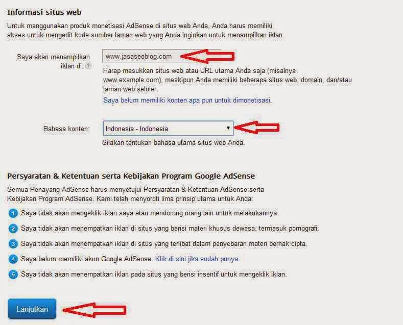 Cara Daftar Google Adsense Bagian Ketiga