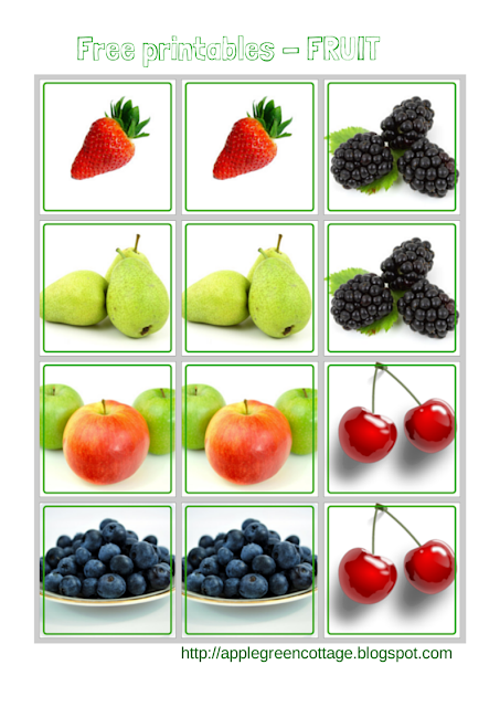 Free Printables Series - Fruit Memory game