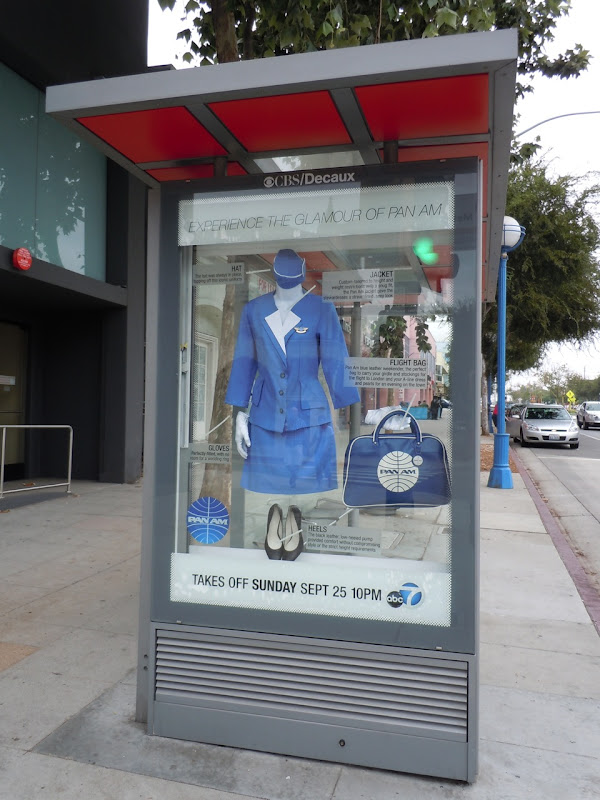Pan Am costume bus shelter West Hollywood