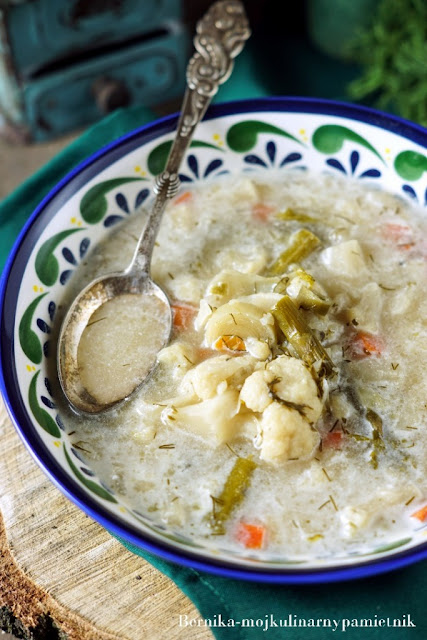 kalafior, zupa, obiad, szparagi, bernika, kulinarny pamietnik, lato