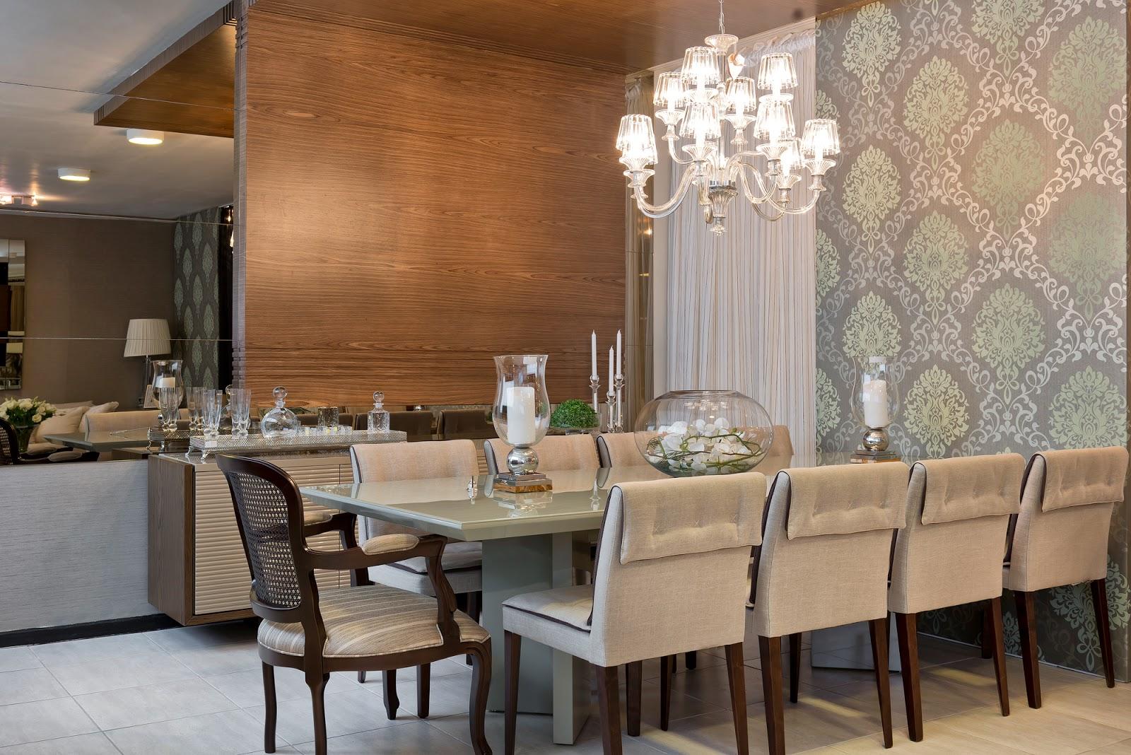 Construindo Minha Casa Clean Como Usar Cadeiras Diferentes Nas  -> Papel De Parede Sala Ideias