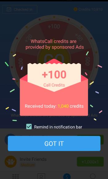 more whatscall credits