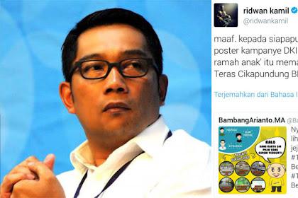 Reaksi Ridwan Kamil Saat Foto Taman Cikapundung Digunakan Pendukung Ahok Untuk Kampanye di Media Sosial