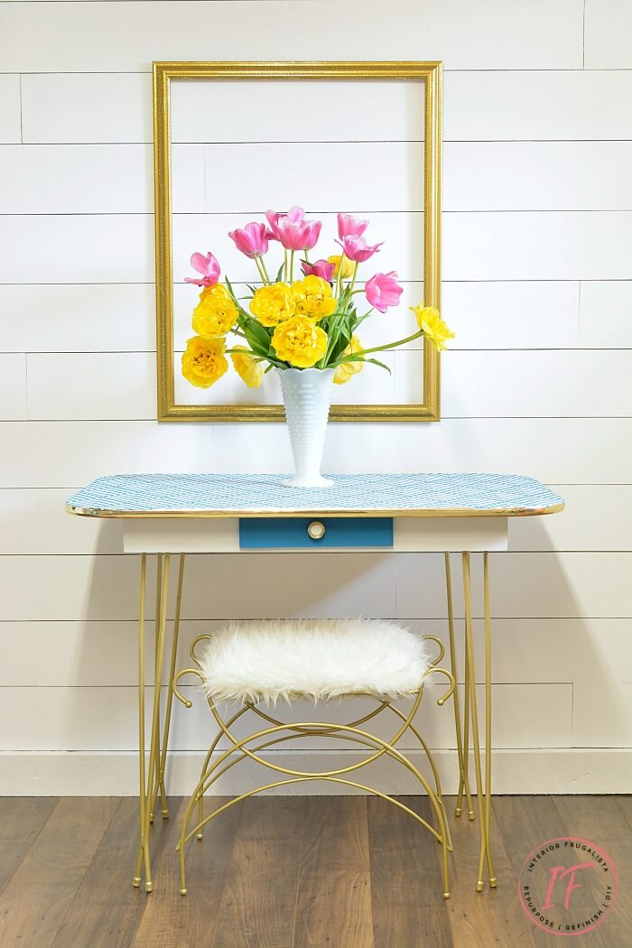 Arborite Retro Dining Table After With Vanity Stool
