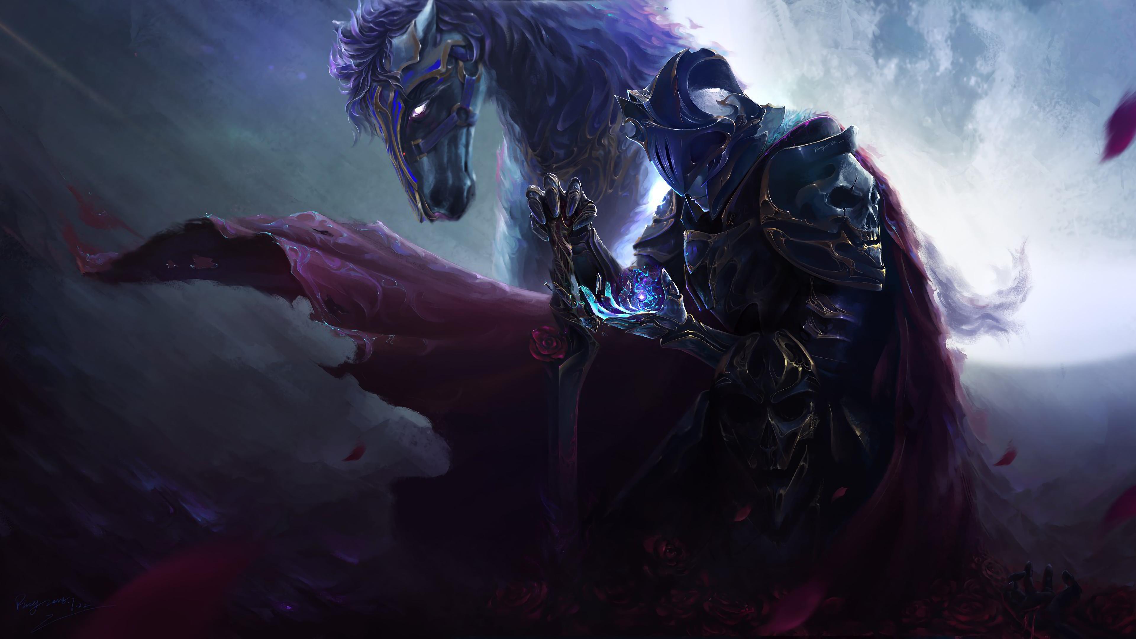 Dark Knight, Warrior, Sword, Horse, Fantasy, 4K, #96 Wallpaper