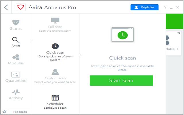 تحميل برنامج الحماية القوية من الفيروسات والملفات الضارة Avira Antivirus Pro