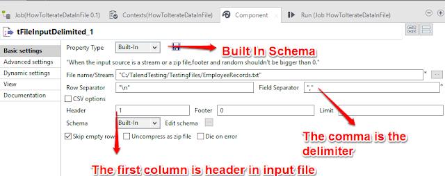 Talend_tFileInputDelimited Component
