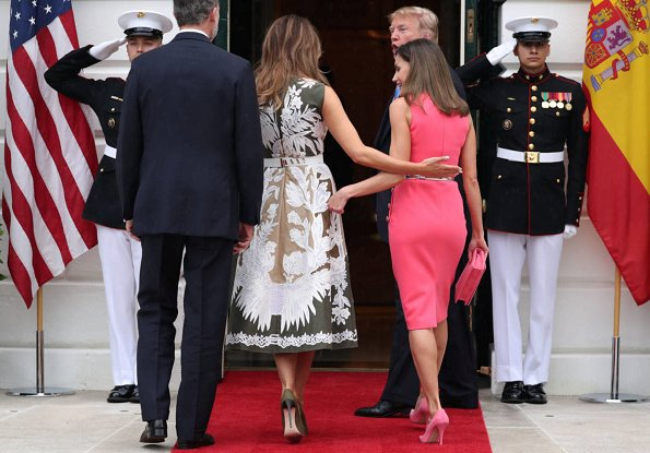 Queen Letizia wore Michael Kors button detail stretch wool dress.President Donald Trump. First Lady Melania Trump wore print dress