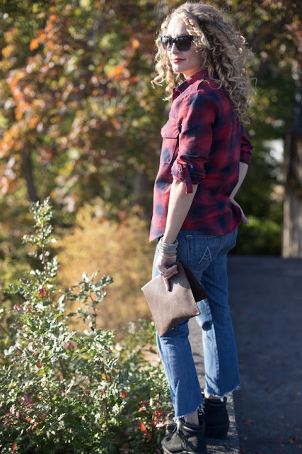 cropped jeans and flannel