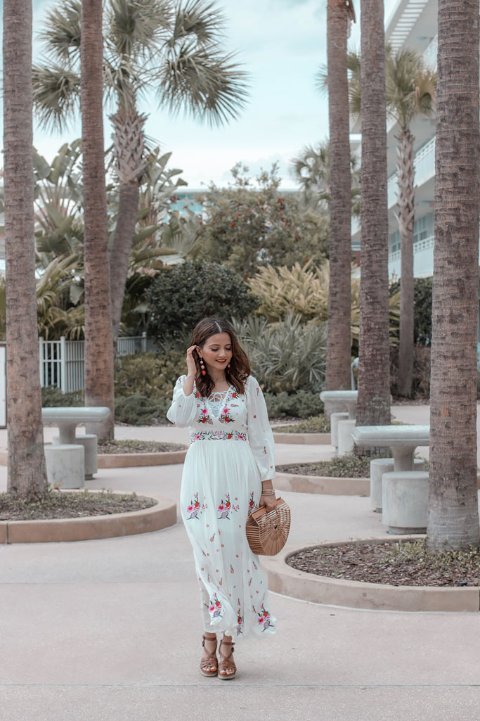 Chicwish Rose Embroidered Maxi Dress Blogger Outfit Cabana Bay Beach Resort