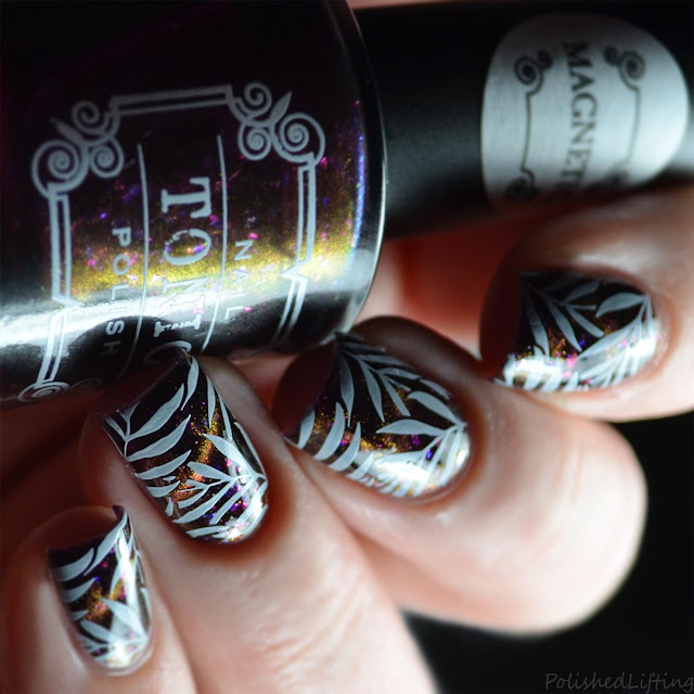 plum orange gold cat eye magnetic nail polish