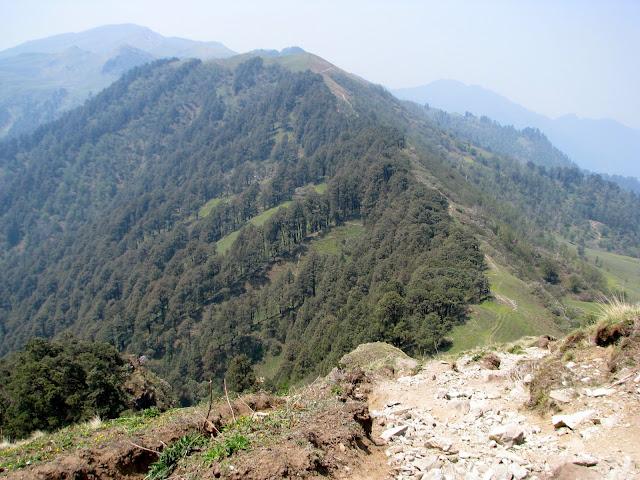 Looking back at the ridge