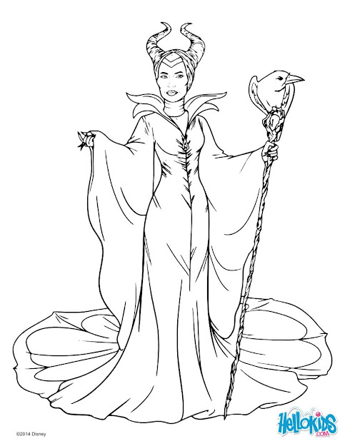 Sleeping Beauty Coloring Pages Maleficent With Cane Coloring Page