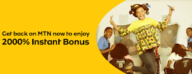 Mtn Welcome Back Bonus, Get 2000% Bonus Winback From Mtn Recharge #100 and Get #2000