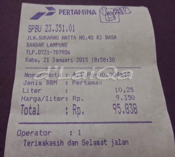 struk menunjukkan jumlah beli pertamax 92 sebanyak 10,25 liter
