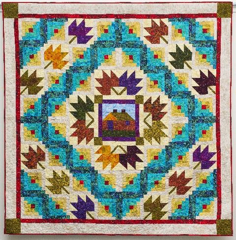 Maple Cabin Quilt Pattern from Linda Hahn available for free at AQS blog