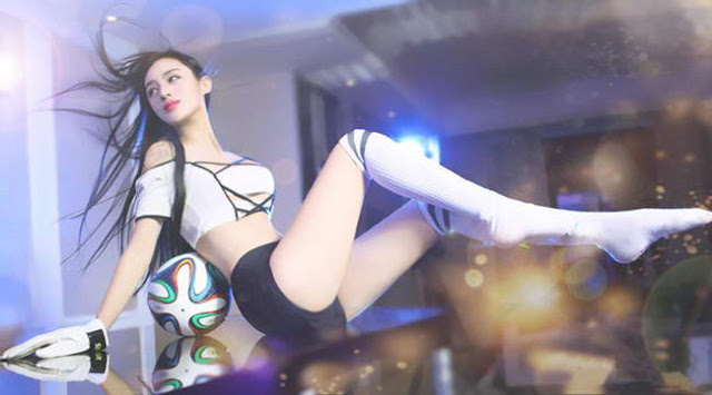 Hot girl china play football to support Euro 2016