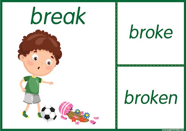 Irregular verb break - printable ESL flashcards